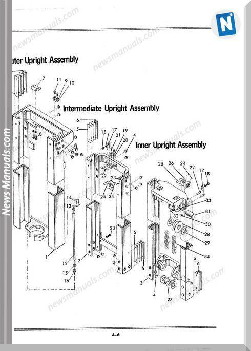 White Fork Lift Triplex Uprights Parts Catalog