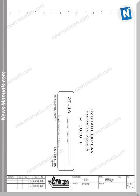 Wirtgen W1000F Hydraulic 07.10 811-9999 Wiring Diagram