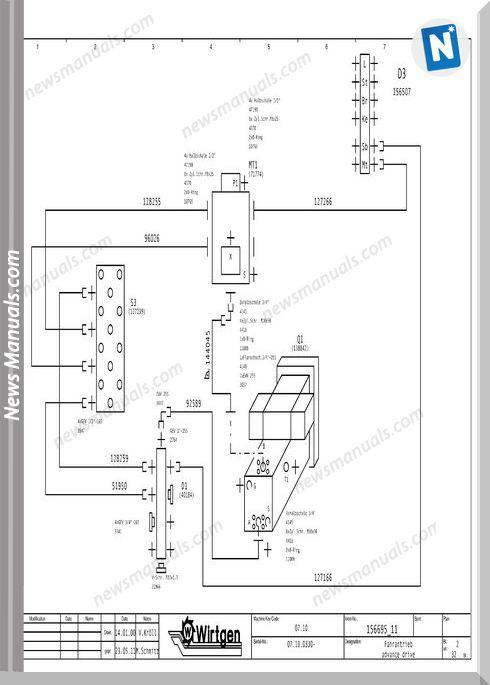 Wirtgen W1000F, W1200F, W1300F Hydraulic Wiring Diagram