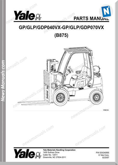 Yale B875 Gp Glp Gdp 040Vx-Gp Glp Gdp070Vx Part Manual