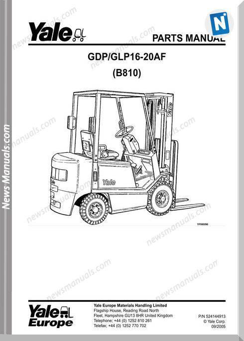Yale Forklift 16-20 Af (B810) Models Parts Manual
