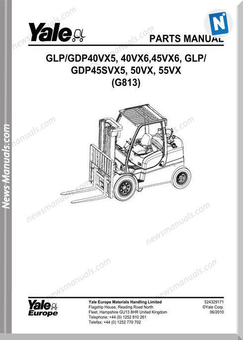 Yale Forklift 524329171-[G813E-40-55Vx]-Y-Part Manual