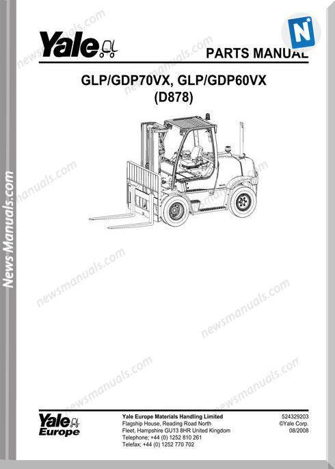 Yale Forklift 524329203-[D878E]-Y-Pm-Uk-En Part Manual