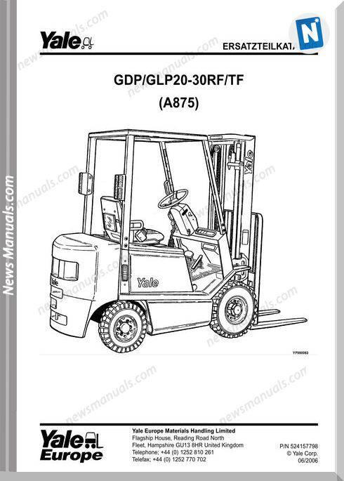 Yale Forklift A875 06 2006 Y-Pm-De Models Part Manual