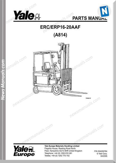 Yale Forklift Aaf (A814) 504250784 Y-Pm-En Part Manual
