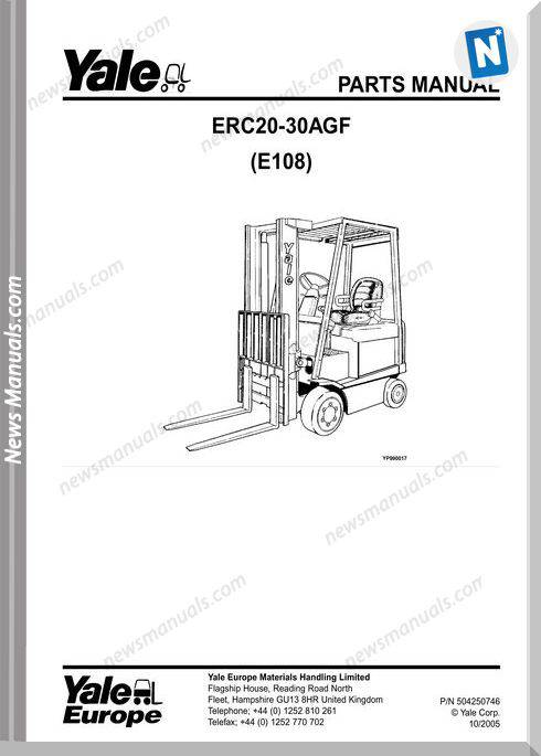 Yale Forklift Agf E108 504250746 Models Part Manual
