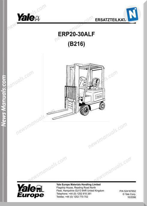 Yale Forklift B216 10 2006 Y-Pm-De Models Part Manual