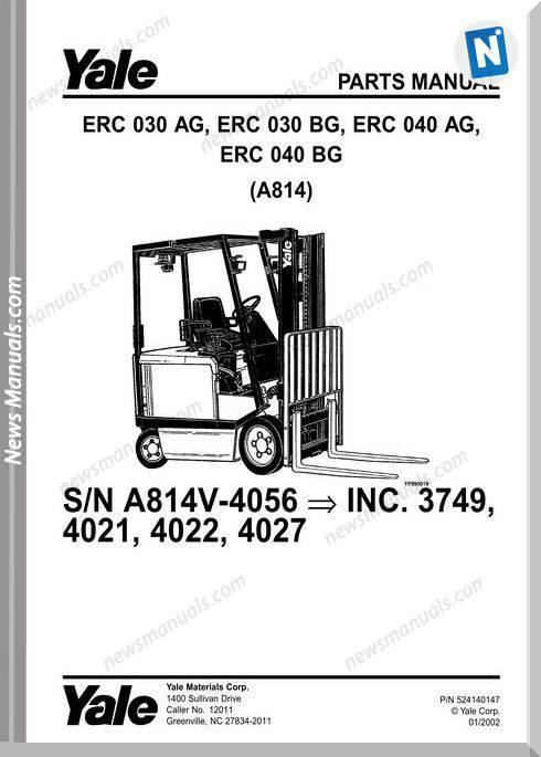 Yale Forklift Erc-Ag-030-040, Erc-Bg-030-040 (A814) Parts