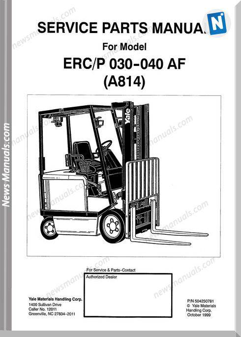 Yale Forklift Erc-Erp 030-040 Af (A814) Parts Manual