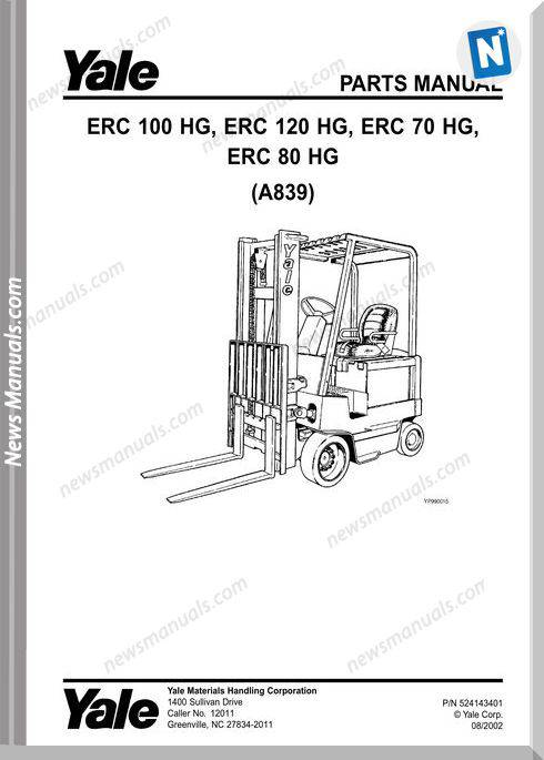 Yale Forklift Erc-Hg-70,80,100,120(A839) Parts Manual