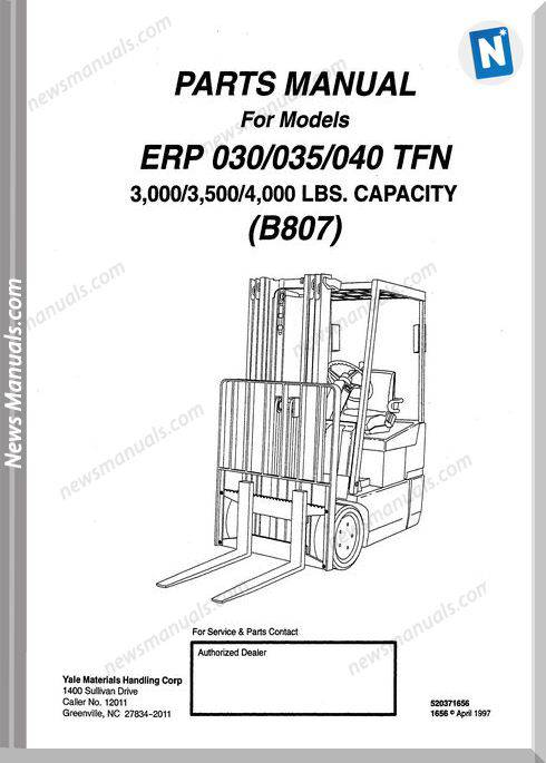 Yale Forklift Erp 030-035-040 Tfn (B807) Parts Manual