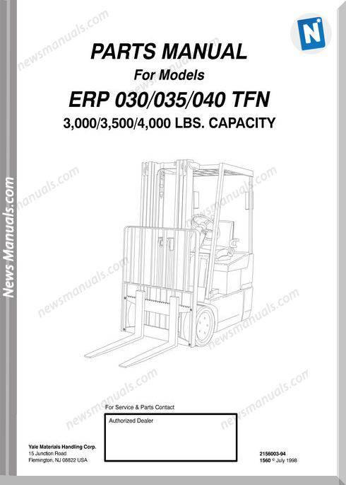Yale Forklift Erp 030-035-040 Tfn Models Parts Manual