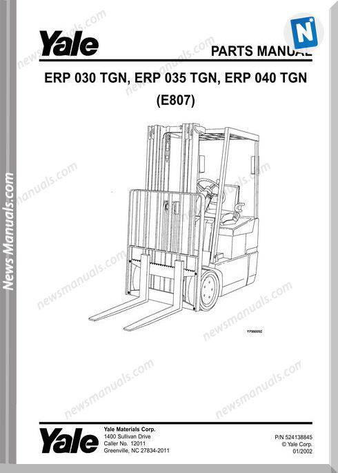 Yale Forklift Erp-Tgn-030-035-040 (E807) Parts Manual