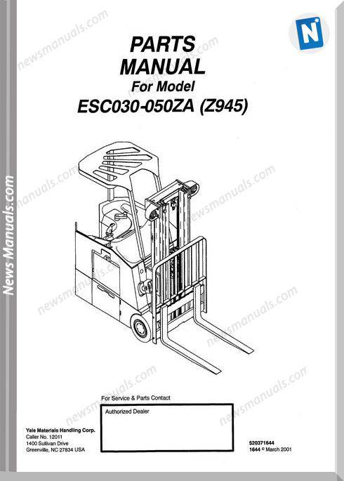 Yale Forklift Esc 030-050 Za Models Parts Manual