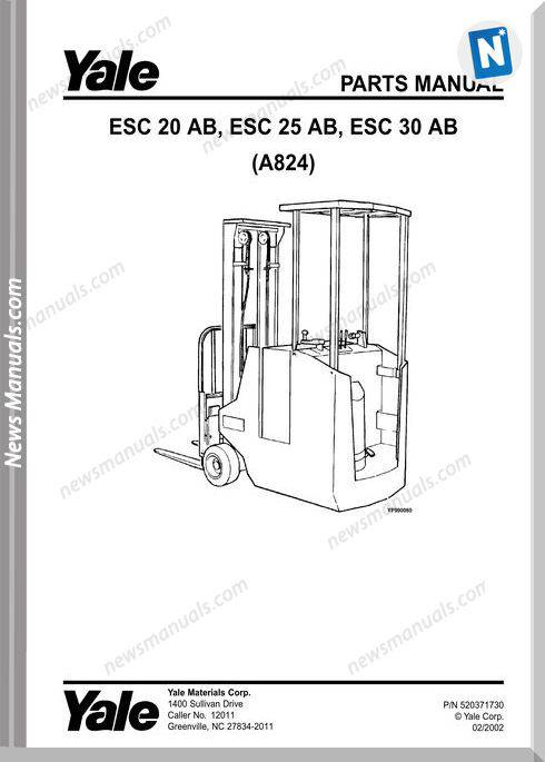Yale Forklift Esc-Ab-20-25-30 (A824) Parts Manual