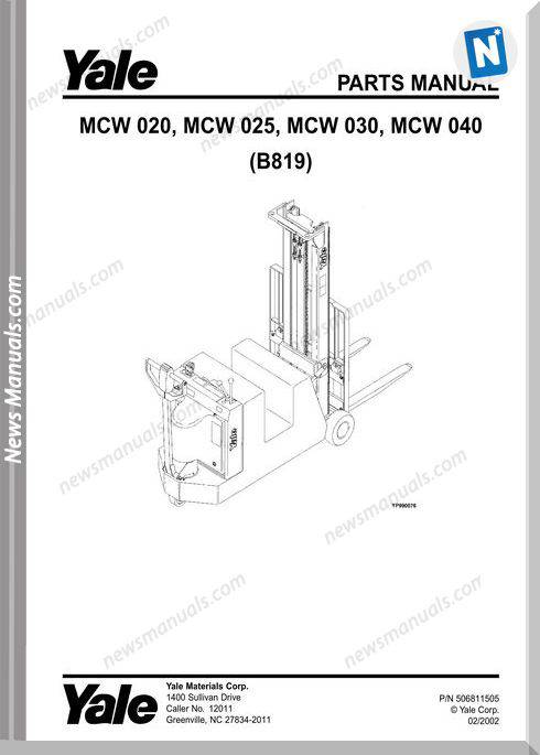 Yale Forklift Mcw 020-025-030-040 (B819) Parts Manual