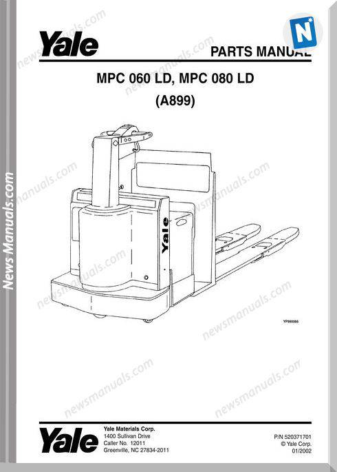 Yale Forklift Mpc-Ld-060-080 (A899) Parts Manual