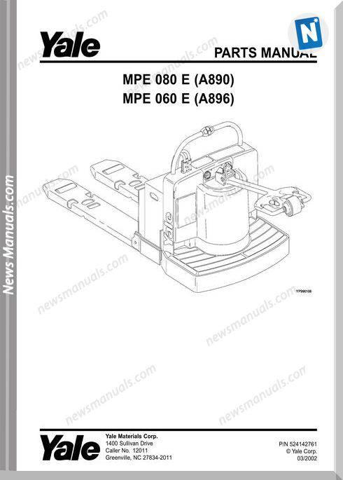 Yale Forklift Mpe-E-080 (A890) Mpe-E-060 (A896) Parts