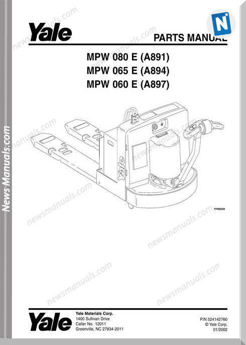 Yale Forklift Mpw-E-080 Mpw-E-065 Mpw-E-060 Part Manual