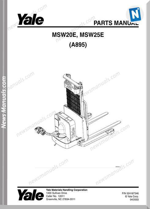 Yale Forklift Msw-E-20-25 (A895) Models Parts Manual