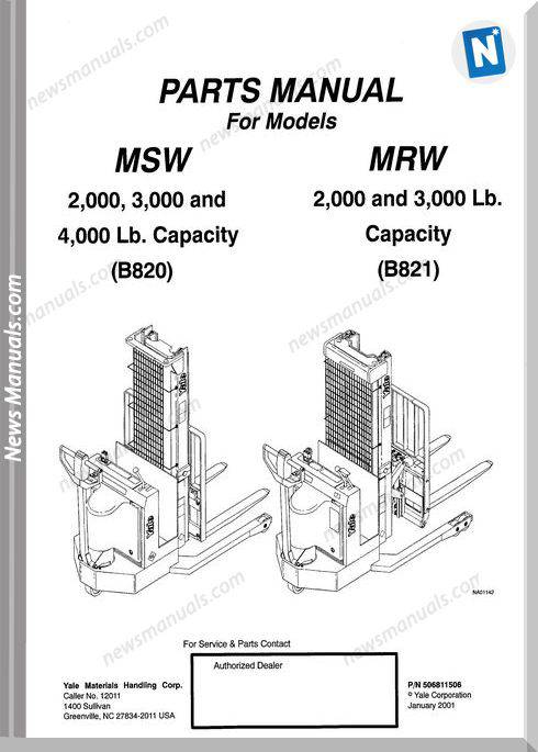 Yale Forklift Msw020-030(B820), Mrw020-030(B821) Parts Manual