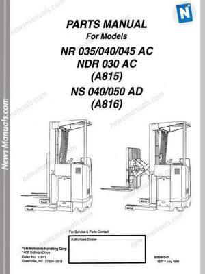 Yale Forklift Nr 035-040-045 Ac, Ndr 030 Ac (A815) Ns 040