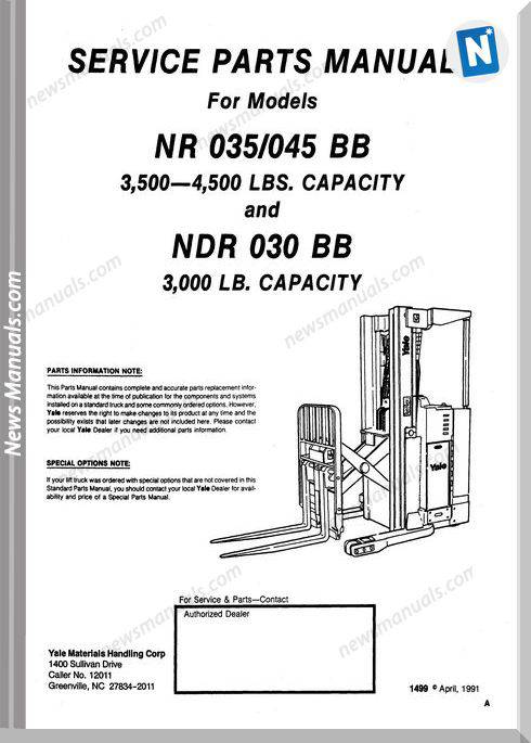 Yale Forklift Nr 035-045 Ndr 030 Bb Parts Manual