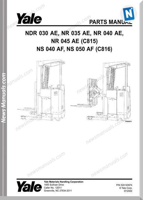 Yale Forklift Nrd-Ae-030, Nr-Ae-035-040-045, Ns-Af-040-050