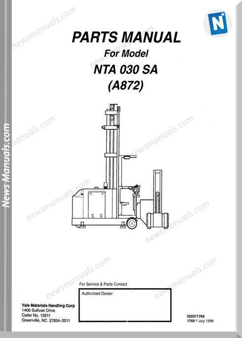 Yale Forklift Nta 030 Sa (A872) Models Parts Manual