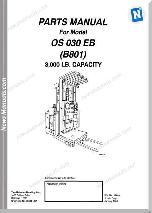 Yale Forklift Os 030 Eb (B801) Models Parts Manual