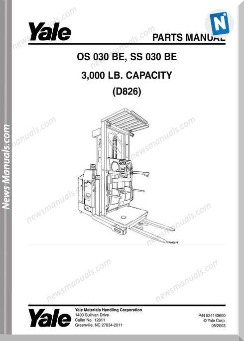 Yale Forklift Os-Be-030, Ss-Be-030 (D826) Parts Manual