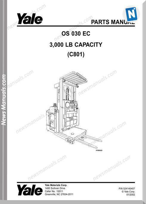 Yale Forklift Os-Ec-030 (C801) Models Parts Manual