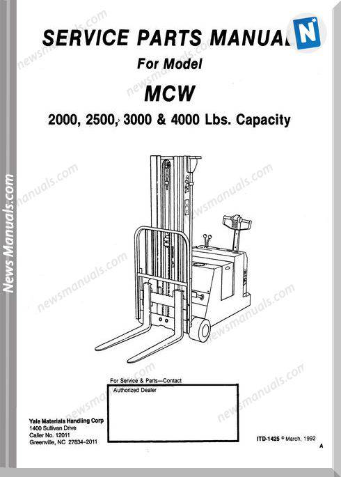 Yale Mcw 2000,2500,3000,4000 Albright Parts Manual