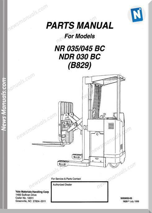 Yale Nr 035-045 Bc Ndr 030 Bc (B829) Parts Manual