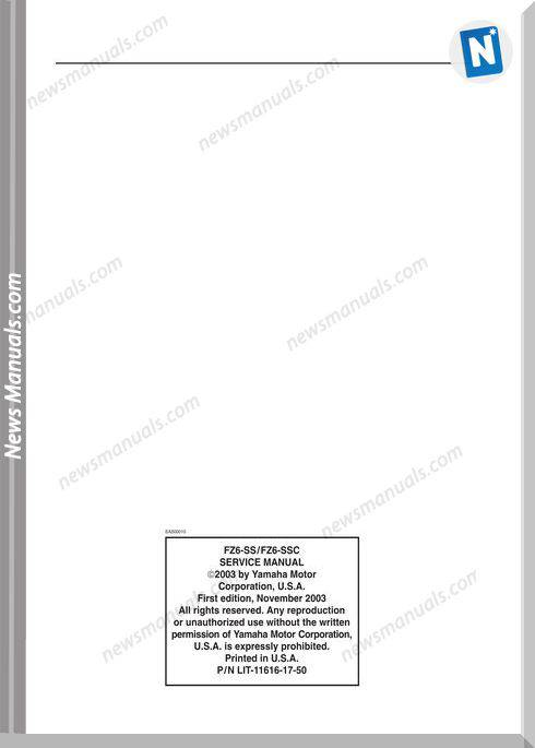Yamaha Fz6 Ss Ssc 2004 Service Manual