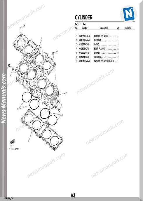 Yamaha Fzr1000 93 Parts Catalog