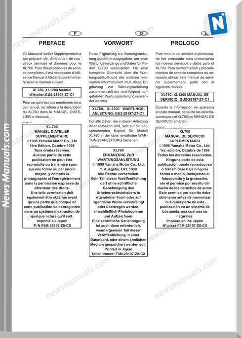 Yamaha Service Manual Xl700