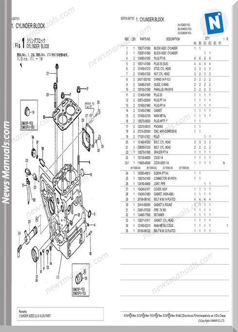 Yanmar 2Gm20 Parts List