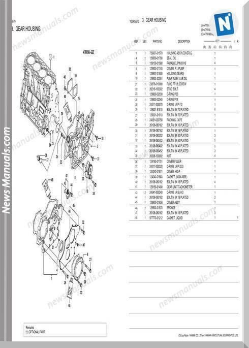 Yanmar 4Tnv98 Gge Engine Parts Catalog
