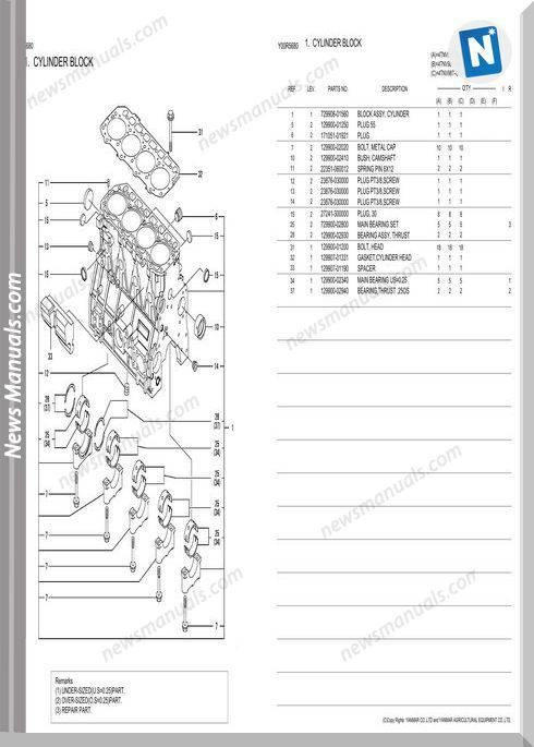 Yanmar 4Tnv98T Gge Engine Parts Catalog