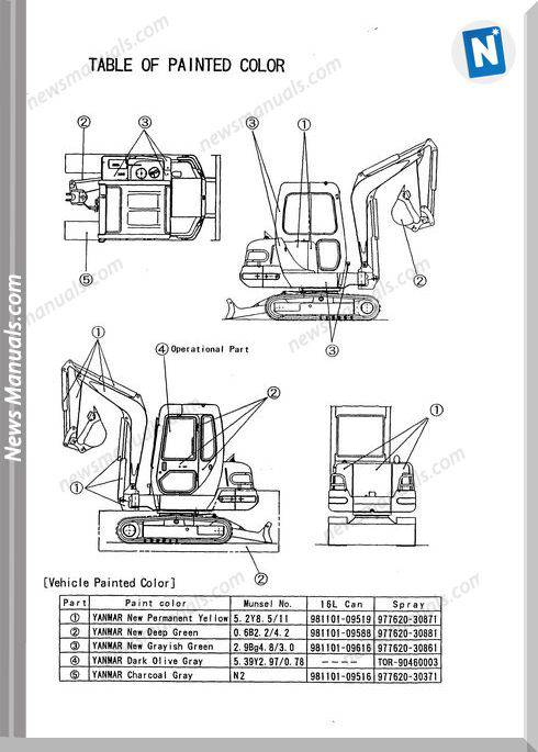 Yanmar Crawler Backhoe B27-2A Ammann Parts Manual