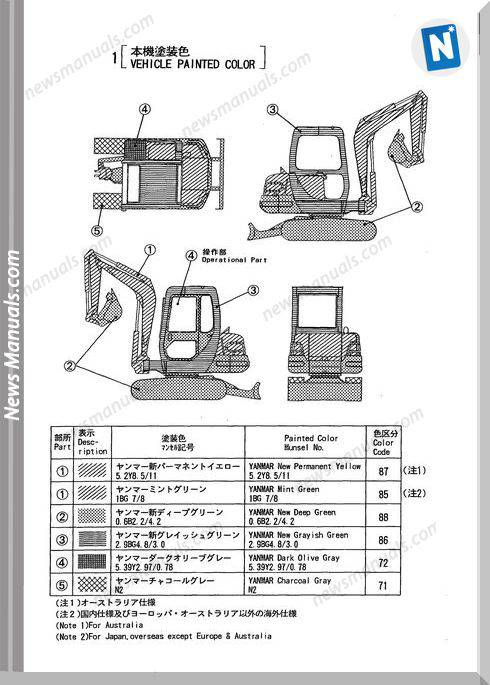 Yanmar Crawler Backhoe B37-2A Parts Manual
