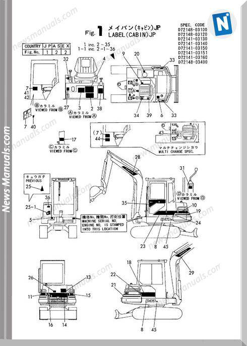 Yanmar Crawler Backhoe B37 P,Pr,C,Cr Parts Manuals