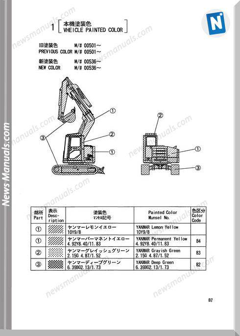 Yanmar Crawler Backhoe B7 Parts Manuals