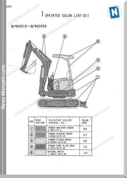 Yanmar Crawler Backhoe Vio15 Parts Manuals
