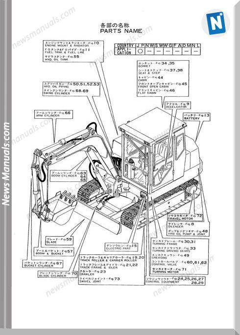 Yanmar Crawler Backhoe Yb451-2,Yb501-2 Parts Manuals