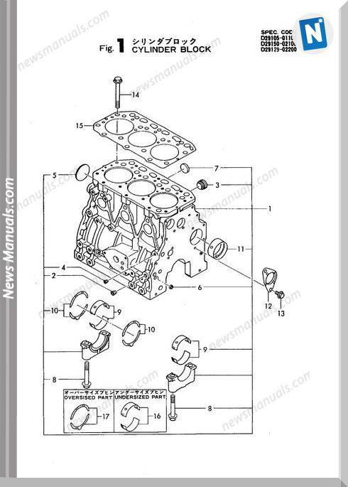 Yanmar Engine 3Tn84L-Rbs,F(Yb271,B Parts Catalog