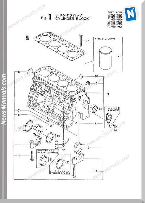 Yanmar Engine 4Tn78Tl-Db,Rb(K2094)Parts Catalog