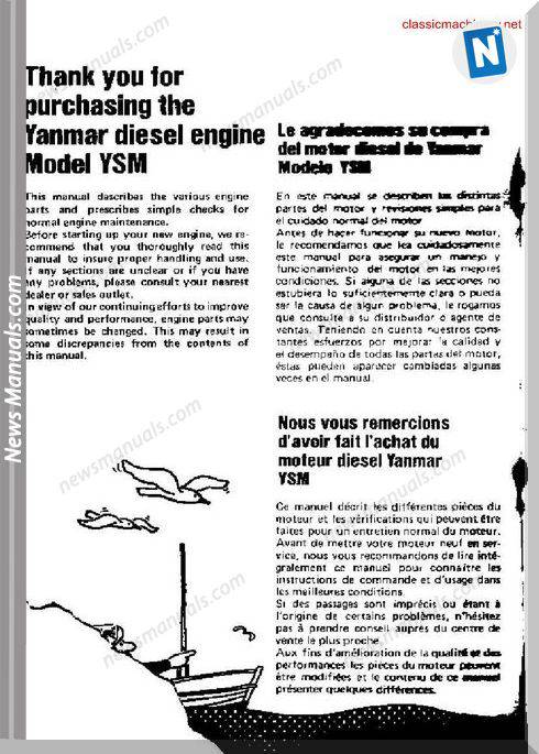 Yanmar Model Ysm Operators Manual