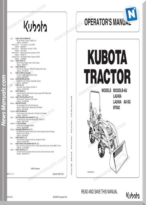 Kubota Tractor BX25DLB LA240 BT602 Workshop Manual • News
